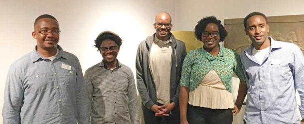 The shortlisted Caine prize authors (l to r): Bongani Kona (Zimbabwe); Lidudumalingani (South Africa); Tope Folarin (Nigeria); Lesley Nneka Arimah (Nigeria); and Abdul Adan (Somalia/Kenya).