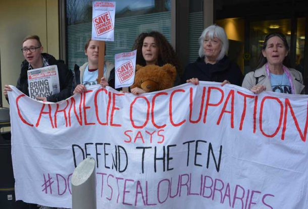 Library protesters outside a council meeting earlier this year