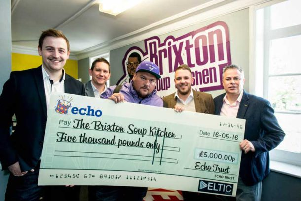 Charlie Sloth with the £5,000 donation for Brixton Soup Kitchen from the Echo Trust charity. From left: Tom Miell (Oceana Watford), Andrew Mclachlan (PRYZM Cardiff), Charlie Sloth, Hal Pearson (Liquid, Gloucester), Peter Bell (Club Batchwood, St Albans).
