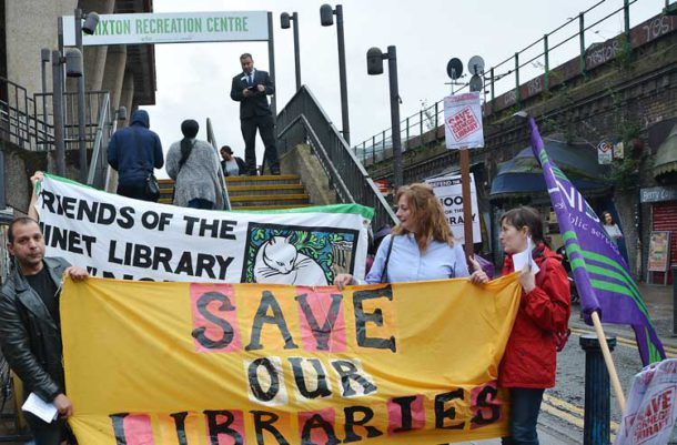 Library campaigners at Brixton Rec