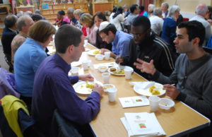 Discussion over a meal at the Caribbean Hindu Temple in Brixton Hill, organised by Faiths Together in Lambeth