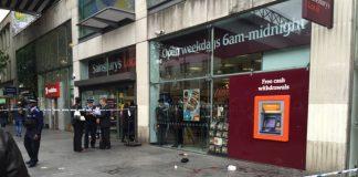 assault scene outside Sainsbury's