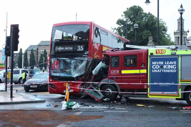 Bus fire engine collision
