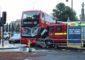 Bus fire engine collision