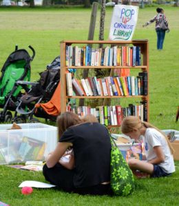 Carnegie library pop up in Ruskin Park