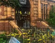 New yellow ribbons on the Carnegie library railings