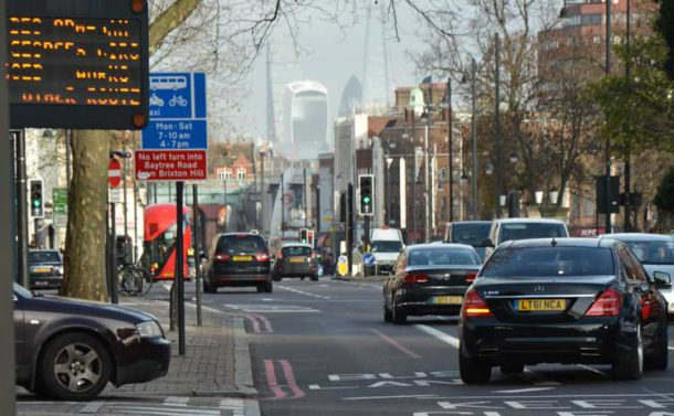 Northbound traffic on Brixton Hill