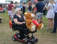 Disability scooter with stuffed bear
