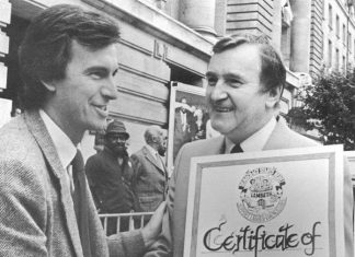 John McDonnell, then treasurer of the Greater London Council, with Ted Knight