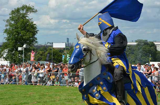 The Blue Knight rallies supporters