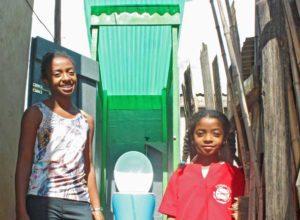 children at Loowatt toilet in Madagascar