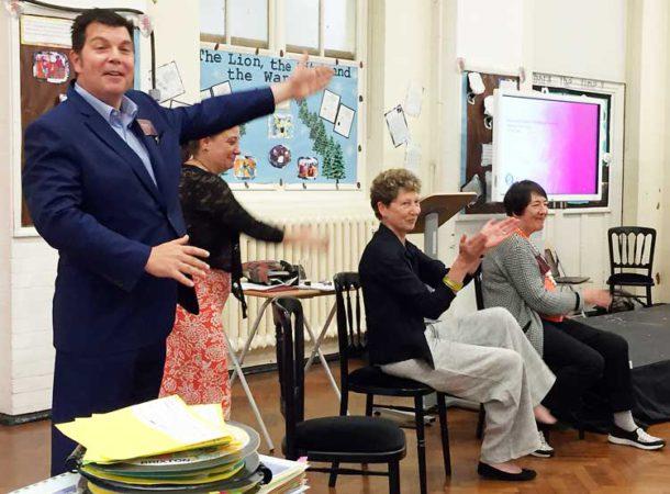Headteacher Richard West; deputy headteacher Becky Lawrence; consultants Sue Ellis and Myra Barrs