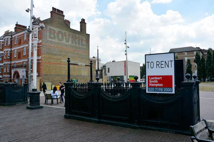 To rent sign of the Windrush Square toilets