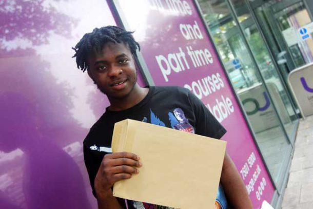 A student celebrates exam results