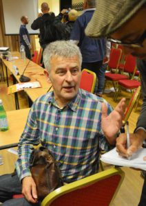 James Castle talks to reporters at last night's meeting