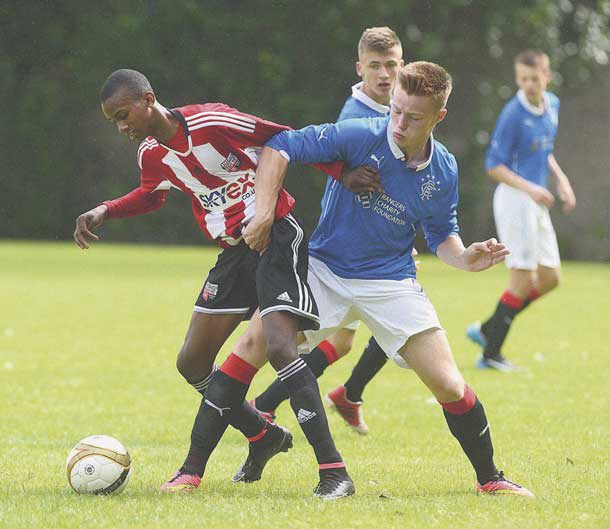 Joshua Bohui (left) in action for Brentford's youth team