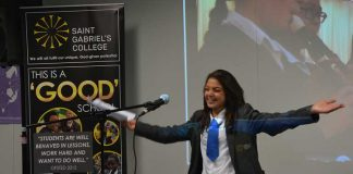 school student making speech