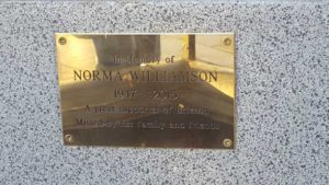 Plaque commemorating Norma Williamson