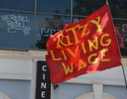 Ritzy living wage banner