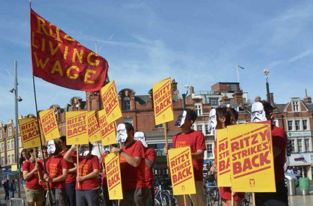 Ritzy strikers outside the cinema
