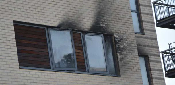 Windows of a flat affected by the fire