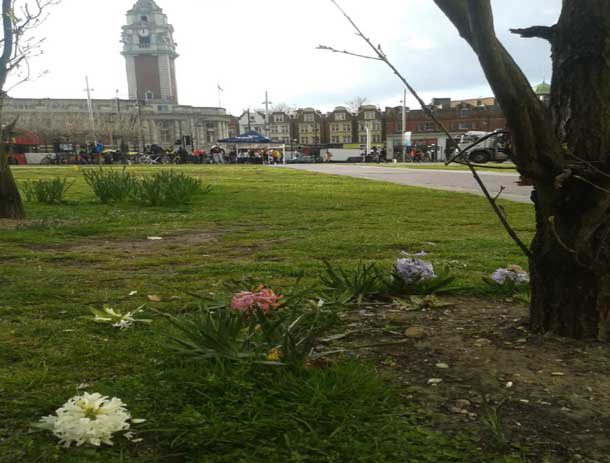 Windrush Square looking toward the town hall