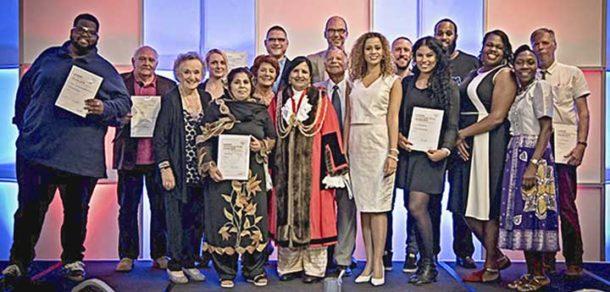 Award winners with mayor Jaffer and Miranda Brawn