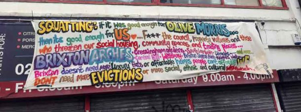 Squatters' banner on Acre Lane