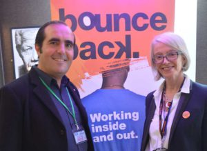 Bounce Back CEO Francasca Findlater with Pop Brixton commercial director Phillippe Castaing at the launch of the charity's scaffolding training scheme in Brixton prison last year