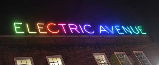 Electric Avenue's new sign on top of Boots