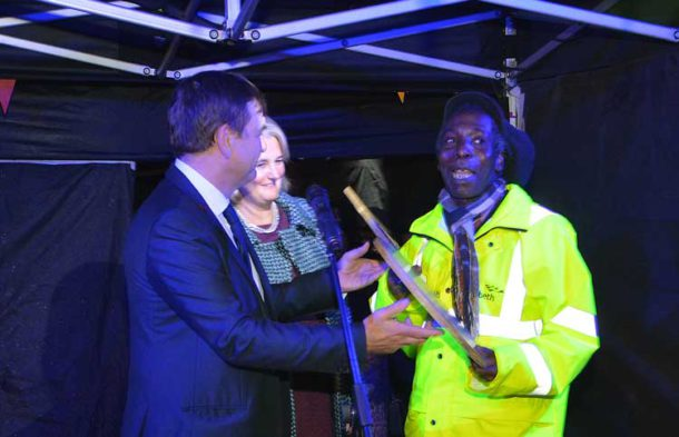 Michaeal Johns receives the keys to Brixton at the Electric Avenue opening event