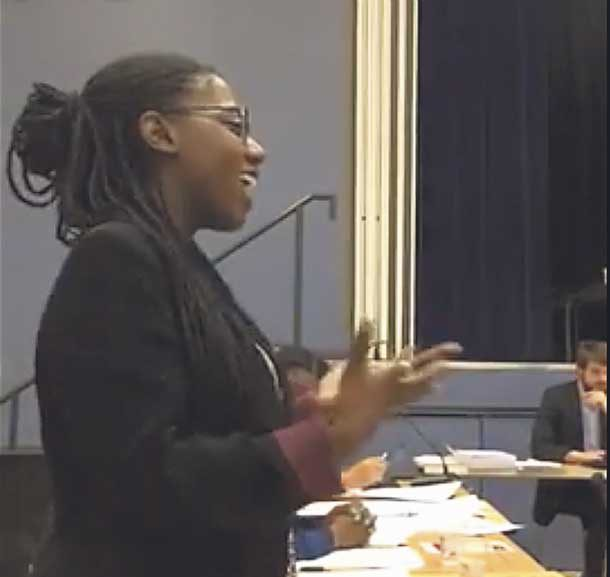 Youth Parliament member Krystelle Stedford