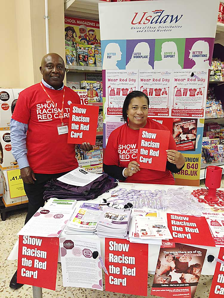 USDAW members outside Brixton Tesco for 2016 SRTRC Wear Red day