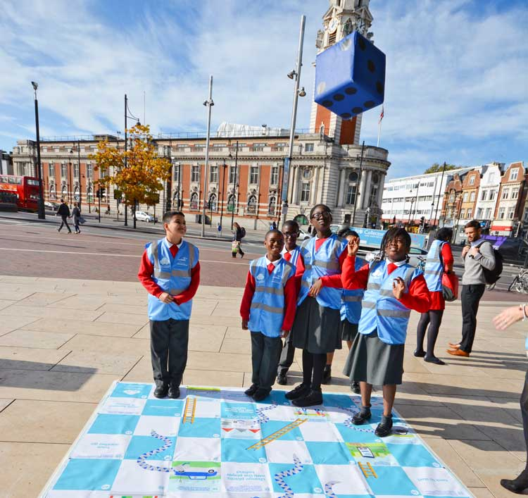 Local primary school pupils take part in anti-idling publicity event in Brixton's Windrush Square