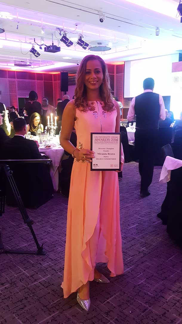 Miranda Brawn at Legal Diversity Awards ceremony