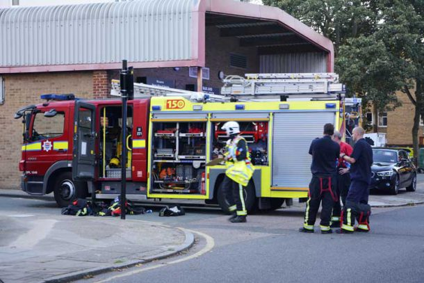 Firefighters at a major fire alert in Brixton earlier this year