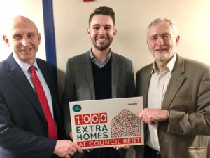 Cllr Bennett promoted council housing plans with Labour leader Jeremy Corbyn (right) and shadow housing secretary John Healey (left) who visited Lambeth recently