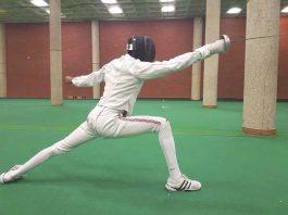 Tarriq Roache practising fencing