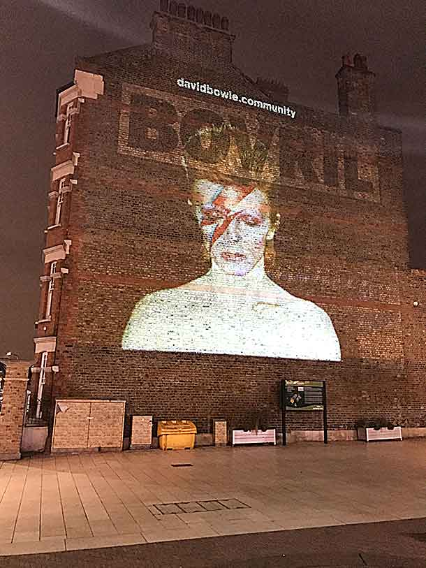 Bowie image on the Bovril wall in Brixton