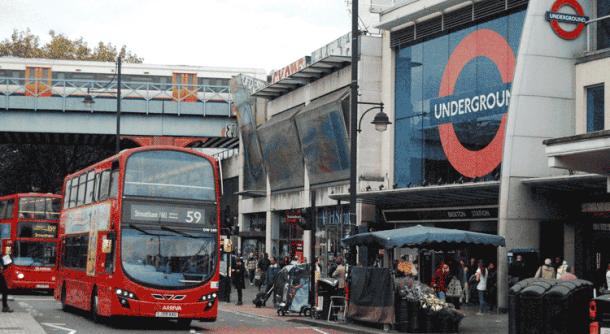 Bus outside Brixton Tube