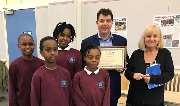 Headteacher Richard West with the Bugle's Hill Mead Herald reporters