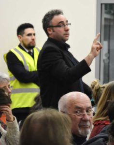 Green party councillor Ainslie Scott tries to address the meeting