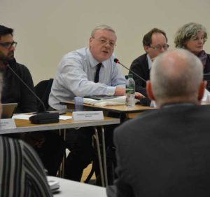 Conservative committee member Bernard Gentry interrupts Herne Hill Labour councillor Jim Dickson (back to camera)