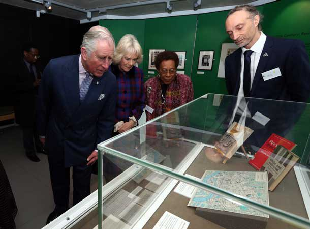 BCA director Paul Reid (right) and chair Dawn Hill explain a display to the Prince of Wales and Duchess of Cornwall. Photo: Press Association