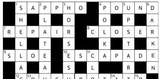 Brixton Bugle crossword solution, March 2017