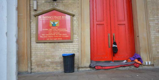 Rough sleeper's possession in the porch of St Matthews