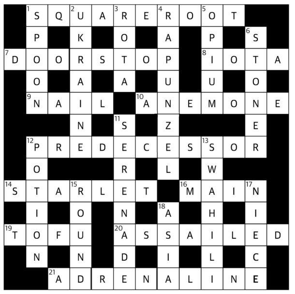 Solution April 2017 crossword