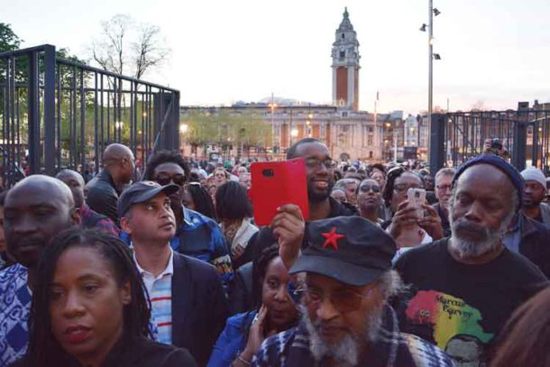The crowd spilled into Windrush Square