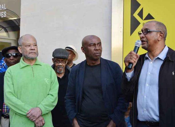 Former Black Panthers listen to the contribution of Early – theBlack Panther Movement's first and youngest recruit in Brixton in the 1960s
