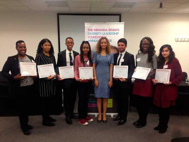 Miranda Brawn (centre) with last year's scholarship winners
